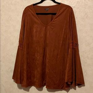 Hannah large crochet bell sleeve suede like top